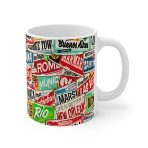 A Clear Conscience is the Sign of a Bad Memory Coffee Mug and Retro Travel Stamps on Chezgigis.com