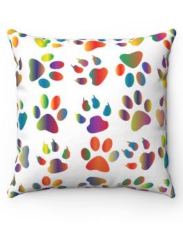 The Dog Walked In Paint Multi Color Dog Paw Prints Spun Polyester Square Pillow