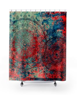 Mandala Reds, Blues, And Math Shower Curtains – 71″ x 74″