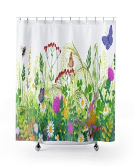 Flowers And Butterflies Get Clean Sweet, Sweet Shower Curtains – 71″ x 74″