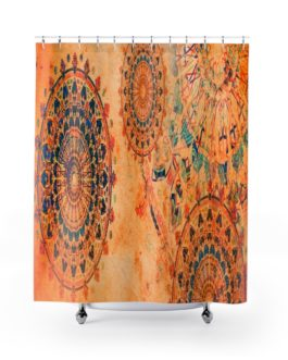 Mandala Wheels In Coral Shower Curtains