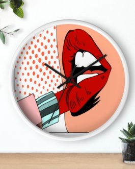 Pop Art Lipstick Seduction Wall Clock