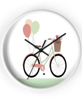 Bicycle And Balloons Happy Time Wall Clock