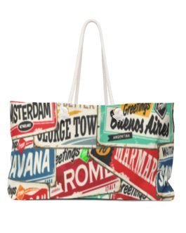 Retro Travel Stamps Bag