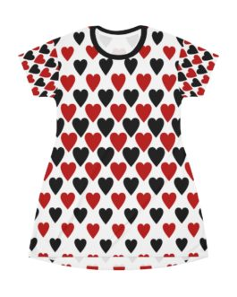 The Queen of Black and Red Hearts T-Shirt Dress