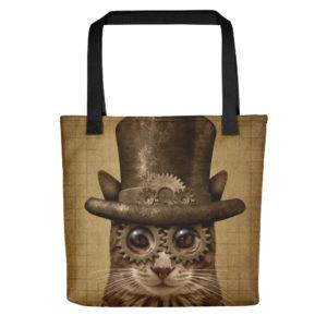 Steampunk Cat Tote Bag on chezgigis.com