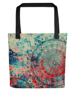 Mandala Red and Blue Tote Bag