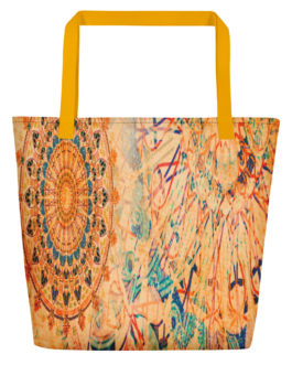 Mandala Wheels In Coral Beach Bag
