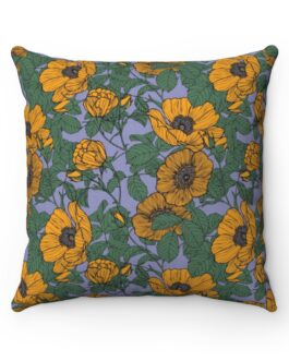 Yellow Field of Poppies Sofa Pillow