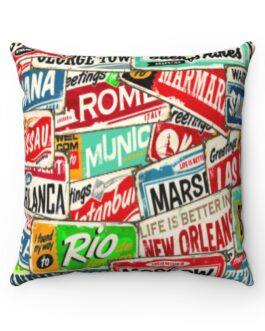 Retro Travel Stamps Sofa Pillow