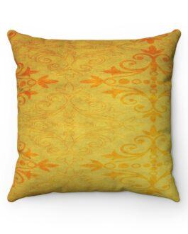 Golden And Orange Pattern Sofa Pillow