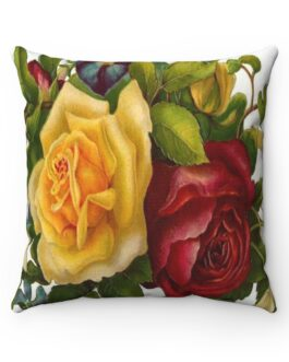 Victorian Red And Yellow Roses Sofa Pillow