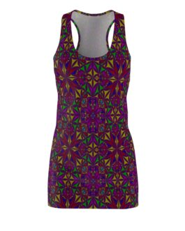 Mandala Pattern Purple and Red Racerback Dress