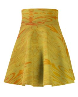 Golden And Orange Pattern Twirly Skirt