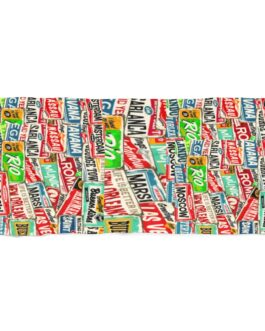 Retro Travel Stamps Beach Towel