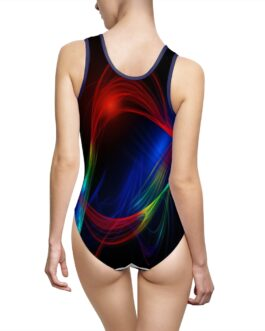 Abstract Swirls Of Paint On Black Swimsuit
