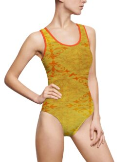 Golden And Orange Pattern Swimsuit