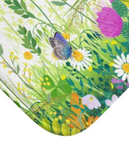 Flowers And Butterflies Bath Mat