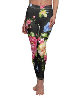 Roses On Black Leggings