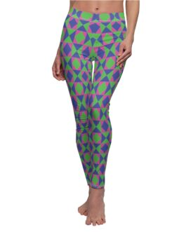 Pink And Green Pattern Leggings