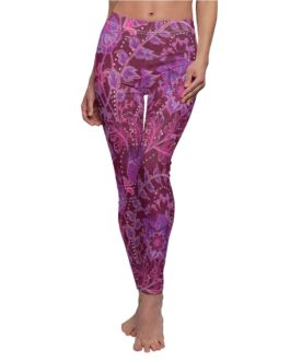 Floral Purple And Dark Red Leggings