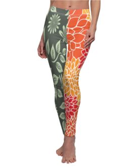 Schizophrenic Orange and Green Two Legged Leggings