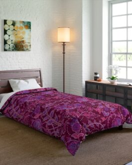 Floral Purple And Dark Red Comforter – 68×92