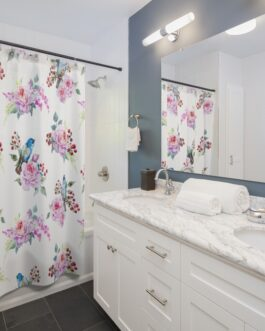 Bluebirds And Roses Shower Curtains