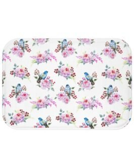 Bluebirds And Roses Bath Mat