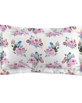 Bluebirds And Roses Pillow Sham