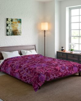 Floral Purple And Dark Red Comforter
