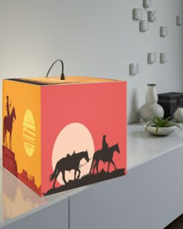 Western Sunsets Horses And Riders Lamp
