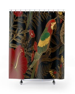 Parrot In Green And Gold Shower Curtains