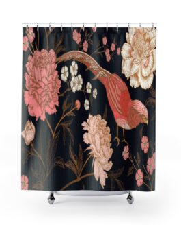 Coral Bird On Pink And Gold Shower Curtains