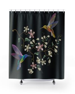 Two Hummingbirds Feeding Shower Curtains