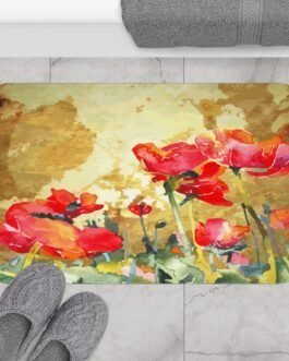 Poppies In Bloom Bath Mat
