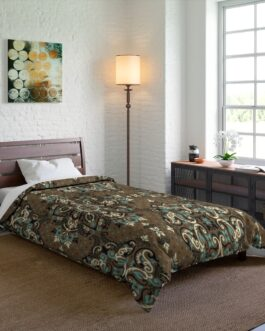 Ethnic Paisley In Blue And Brown Comforter