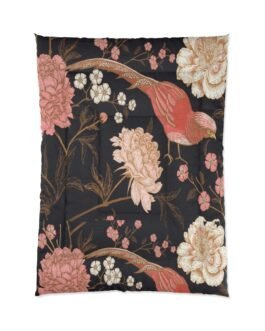 Coral Bird On Pink And Gold Comforter