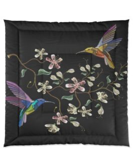 Two Hummingbirds Feeding Comforter