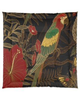Parrot In Green And Gold Comforter