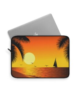 Beach Sunset With A Sailboat Laptop Sleeve