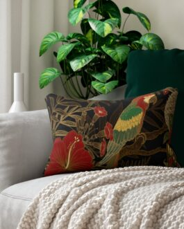 Parrot In Green And Gold And Red Lumbar Pillow