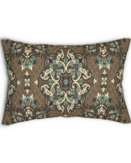 Ethnic Paisley In Blue And Brown Lumbar Pillow