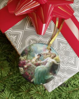 Angel With Cupids Glass Ornament
