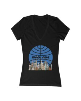 Pan Am And The World's Landmarks On A Women's Jersey Deep V-Neck Tee