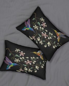 Two Hummingbirds Feeding Lumbar Pillow
