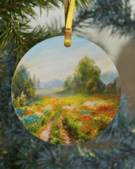 Christmas Fields Of Flowers Glass Ornament