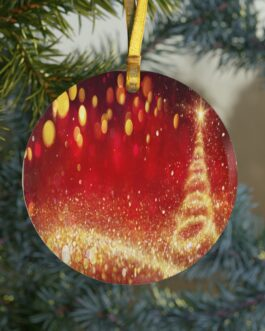Christmas Red And Gold Swirl Glass Ornament