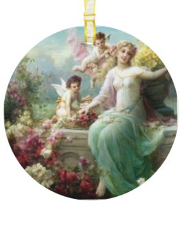 Christmas Angel With Cupids Glass Ornament