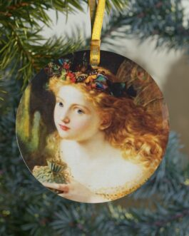 Christmas Angel Looking Up Glass Ornament